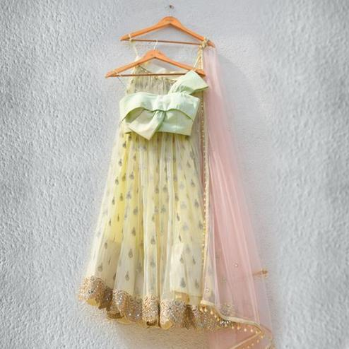 Fantastic Yellow Colored Partywear Embroidered Georgette Lehenga Choli