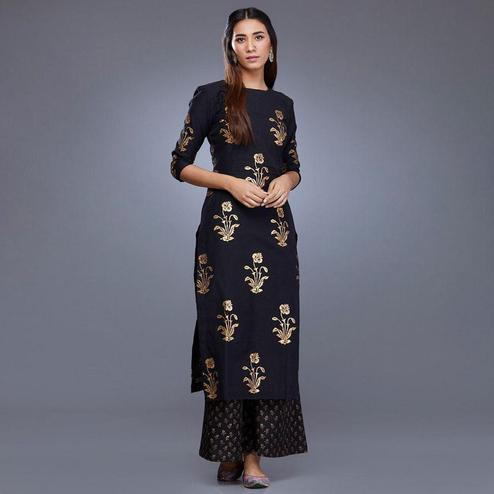 Gorgeous Black Colored Partywear Foil Printed Rayon Kurti-Palazzo Set