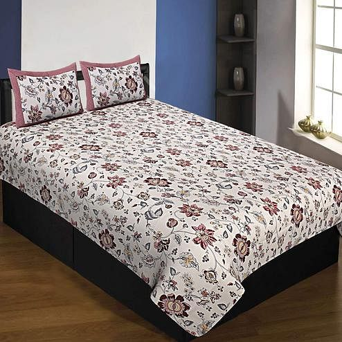 Opulent White-Brown Colored Floral Printed Cotton Single Size Bedsheet With Pillow Cover Set