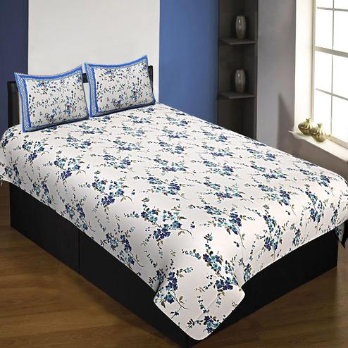 Glowing White-Blue Colored Colored Floral Printed Cotton Single Size Bedsheet With Pillow Cover Set