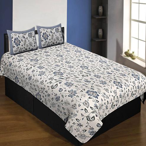 Exceptional White-Grey Colored  Floral Printed Cotton Single Size Bedsheet With Pillow Cover Set