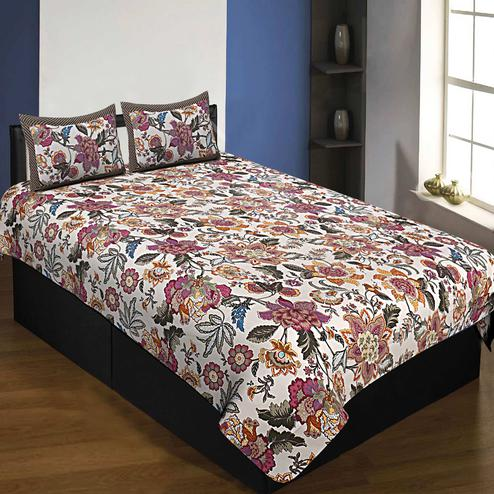 Gleaming White-Pink Colored Autumn Jungle Printed Pure Cotton Single Size Bedsheet With Pillow Cover