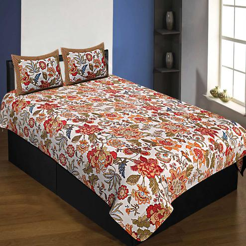 White-Orange Colored Spring Jungle Printed Pure Cotton Single Size Bedsheet With Pillow Cover Set