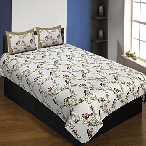 Unique White-Green Colored Bird Printed Pure Cotton Single Size Bedsheet With Pillow Cover Set