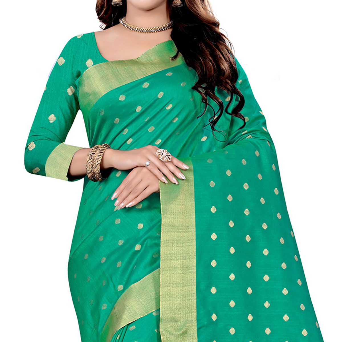 Beautiful Turquoise Green Colored Festive Wear Woven Art Silk Saree