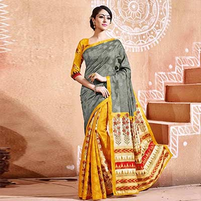 Gray - Yellow - Cream Bhagalpuri Silk Saree