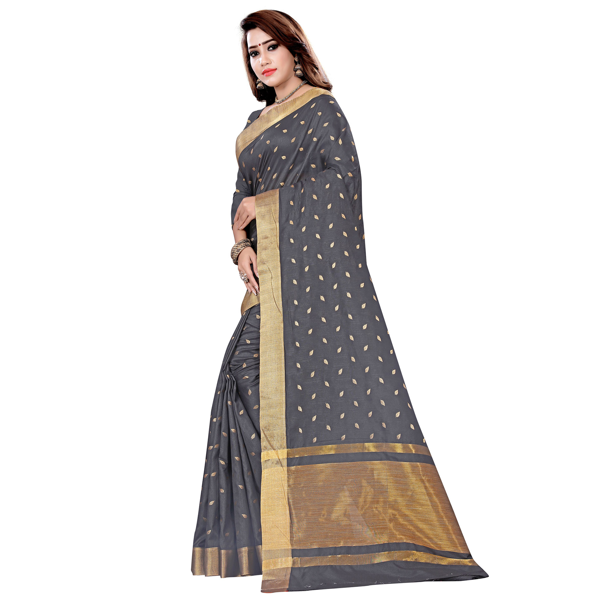 Graceful Black Colored Festive Wear Woven Art Silk Saree