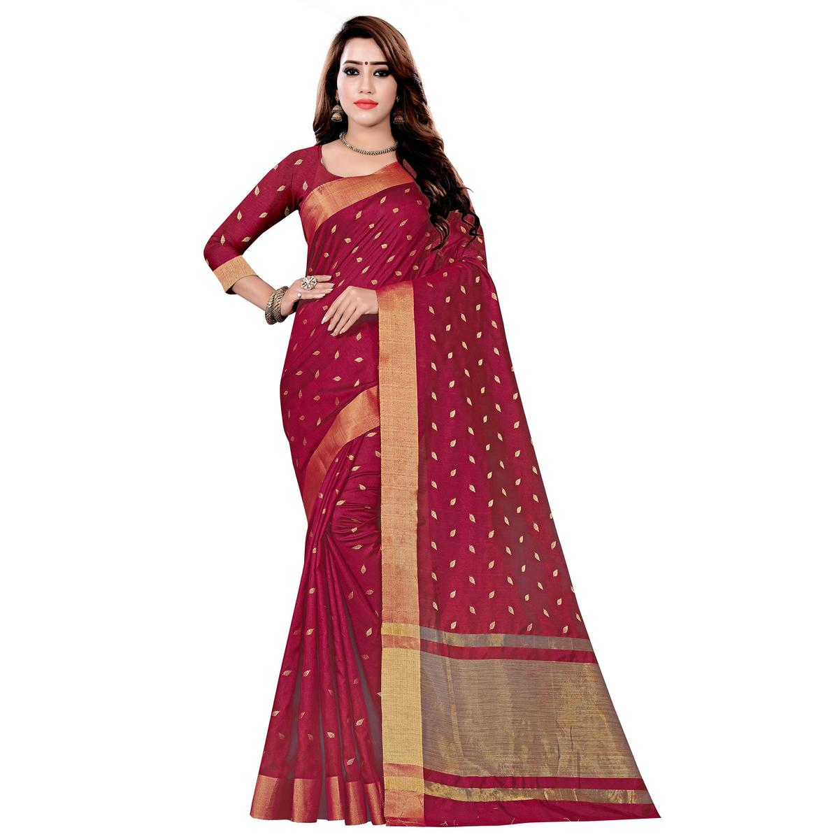 Blooming Dark Magenta Pink Colored Festive Wear Woven Art Silk Saree