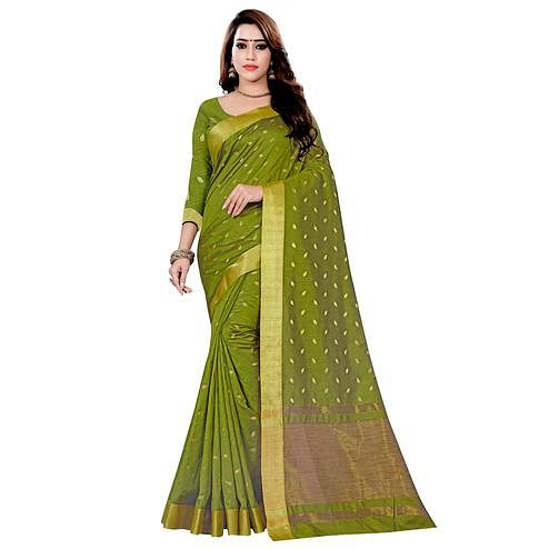 Charming Dark Olive Green Colored Festive Wear Woven Art Silk Saree