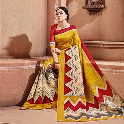Cream - Yellow Bhagalpuri Silk Saree