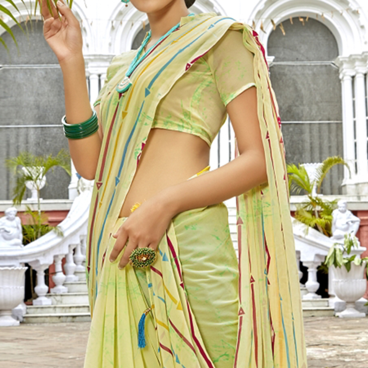 Entrancing Light Green Colored Casual Printed Georgette Saree