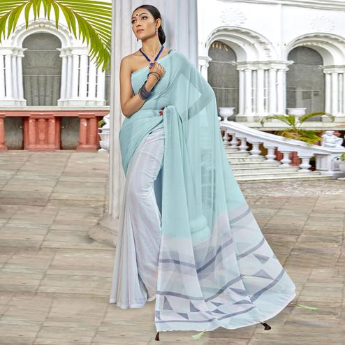 Appealing Grey-Sky Blue Colored Casual Printed Georgette Half-Half Saree