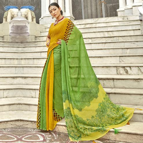 Adorning Green-Yellow Colored Casual Printed Georgette Saree