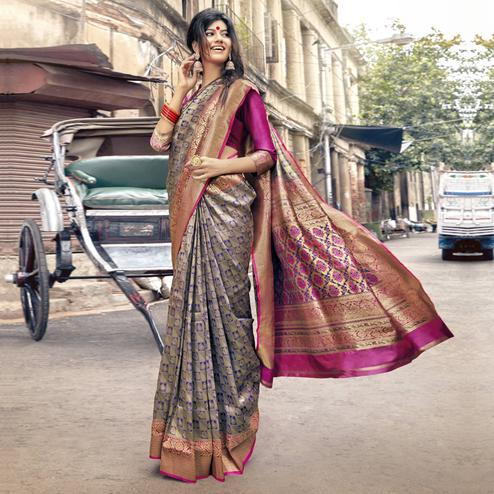 Prominent Blue Colored Festive Wear Woven Jacquard Silk Saree