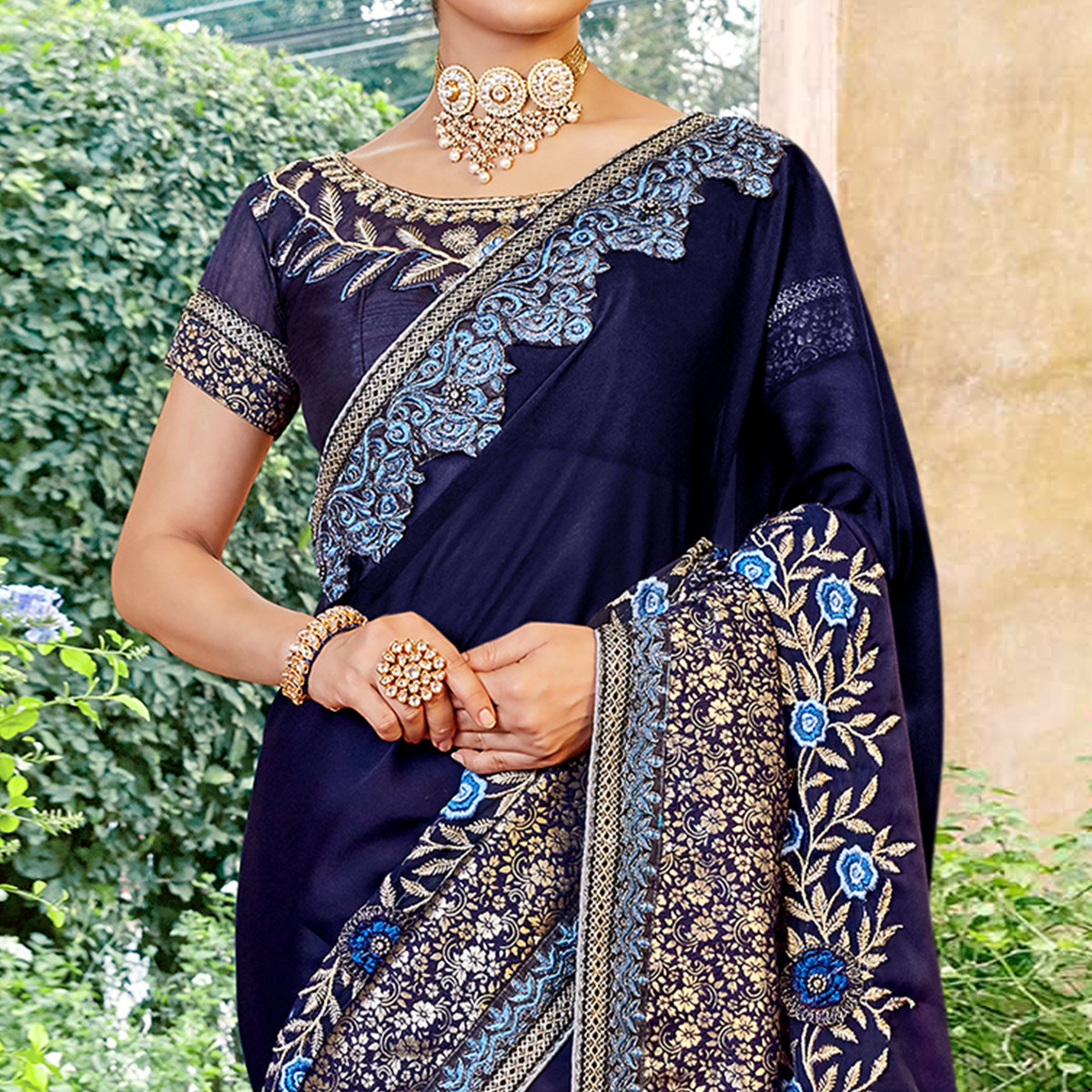 Elegant Navy Blue Colored Partywear Embroidered Georgette Saree