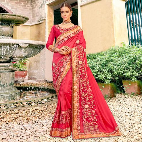 Adorable Pink Colored Partywear Embroidered Georgette Saree