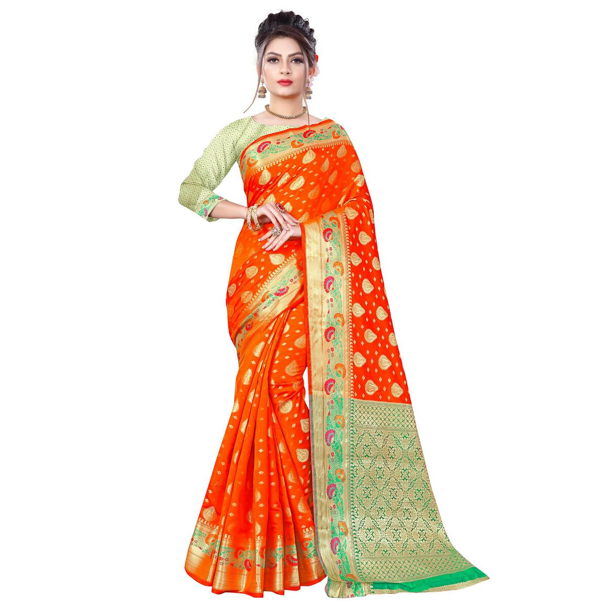 Jazzy Orange Colored Festive Wear Woven Banarasi Silk Saree