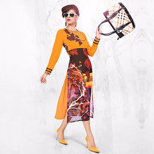 Mustard - Brown Georgette Kurti