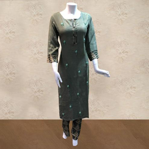 Trendy Green Colored Partywear Embroidered Cotton Kurti-Palazzo Set