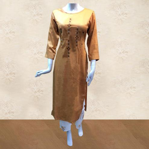 Demanding Orange Colored Partywear Embroidered Cotton Kurti-Palazzo Set