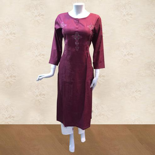 Adorning Dark Pink Colored Partywear Embroidered Cotton Kurti-Palazzo Set