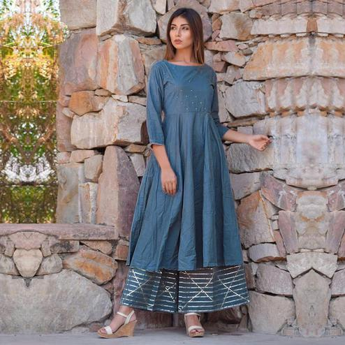 Sensational Greyish Blue Colored Casual Wear Rayon Kurti-Palazzo Set