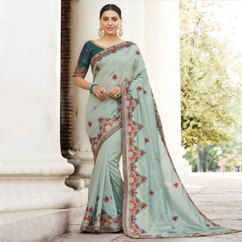 Excellent Slate Grey Colored Partywear Embroidered Silk-Georgette Saree