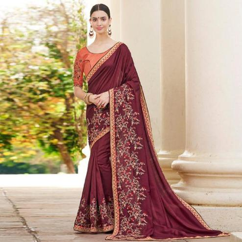 Preferable Maroon Colored Partywear Embroidered Art Silk Saree