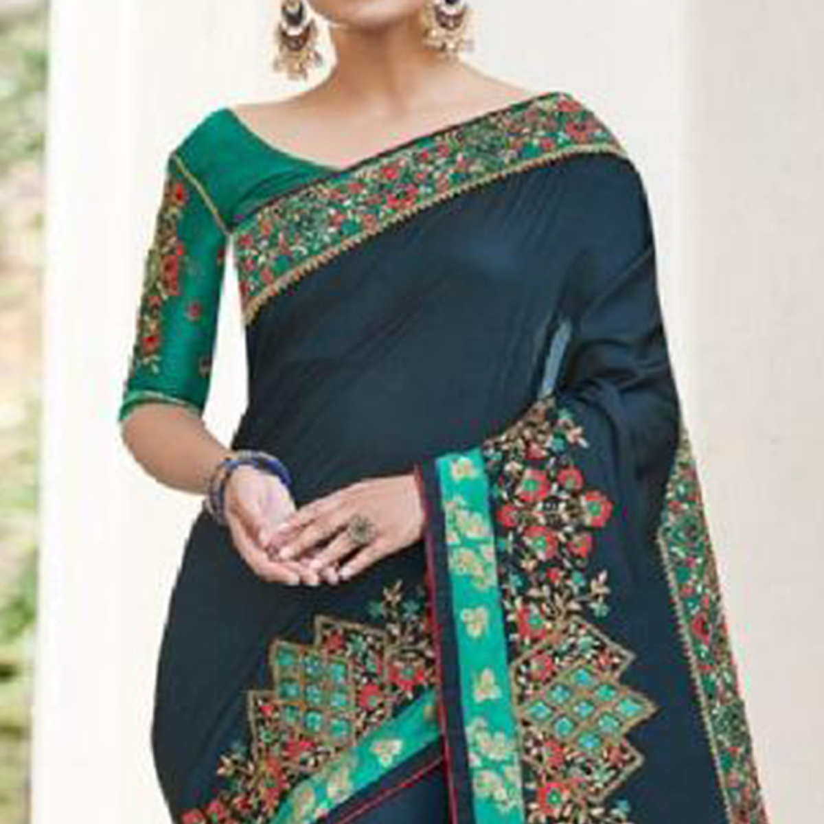 Marvellous Navy Blue Colored Partywear Embroidered Art Silk-Georgette Saree