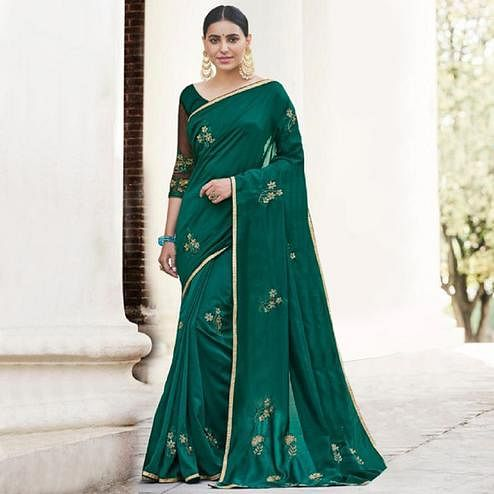 Capricious Teal Green Colored Partywear Embroidered Georgette Saree