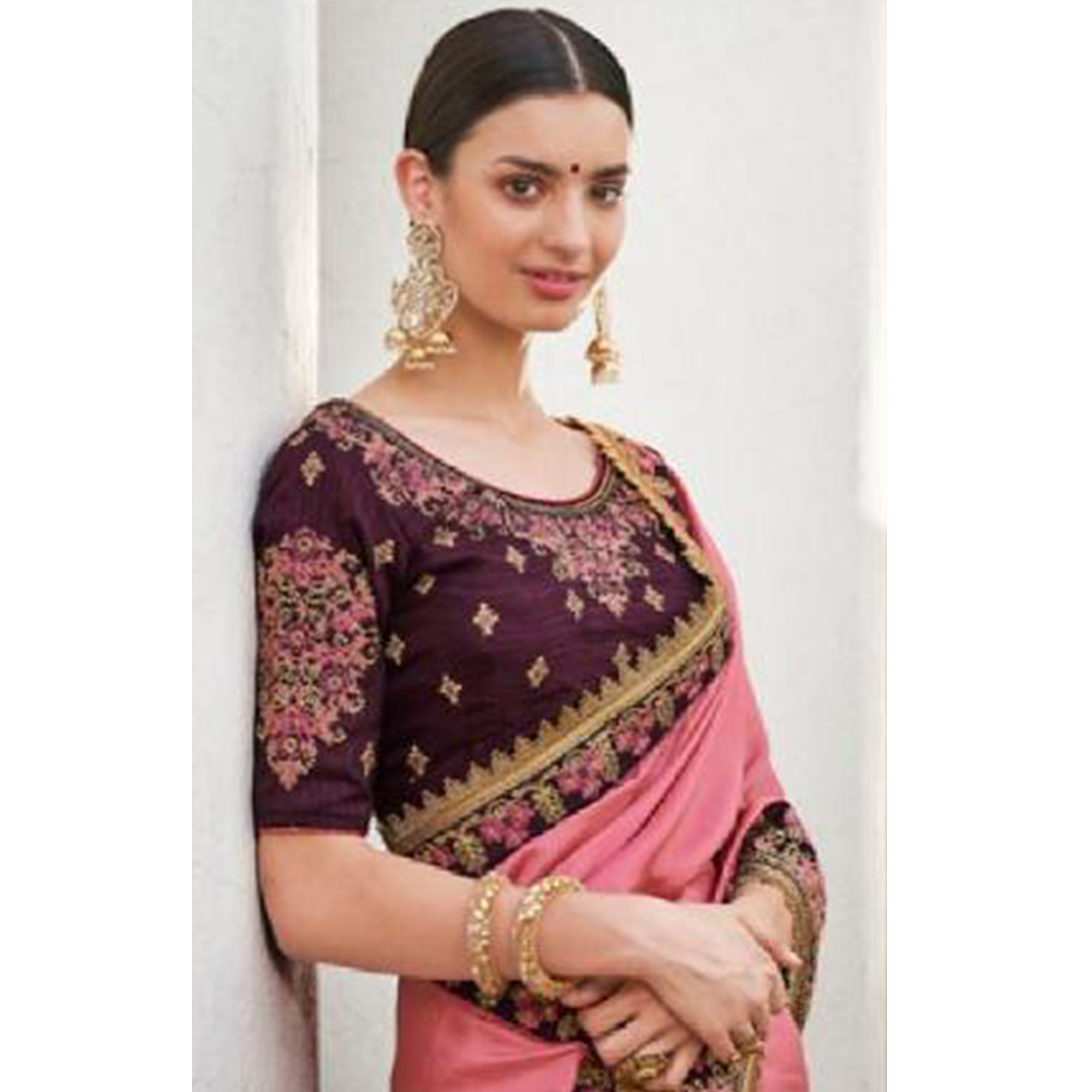 Alluring Pink Colored Partywear Embroidered Silk-Georgette Saree