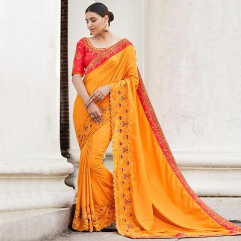 Sensational Orange Colored Partywear Embroidered Art Silk Saree