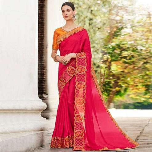 Appealing Pink Colored Partywear Embroidered Georgette Saree