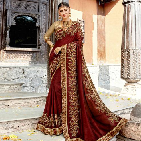 Blooming Brown Colored Partywear Embroidered Georgette Saree