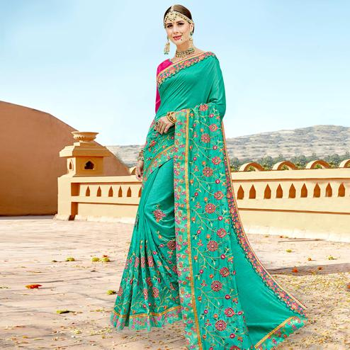 Eye-catching Turquoise Green Color Partywear Embroidered Georgette Saree