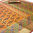 Mesmerising Orange Colored Festive Wear Woven Silk Saree