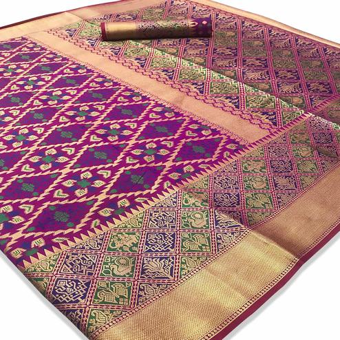 Breathtaking Purple Colored Festive Wear Woven Silk Saree
