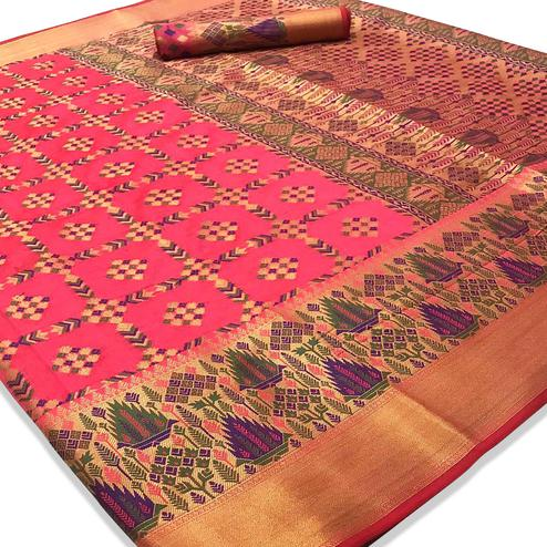 Ravishing Pink Colored Festive Wear Woven Silk Saree
