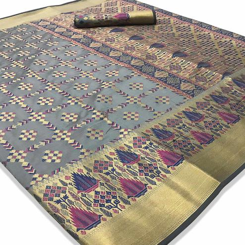 Staring Grey Colored Festive Wear Woven Silk Saree