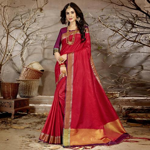 Amazing Red Colored Festive Wear Woven Chanderi Silk Saree