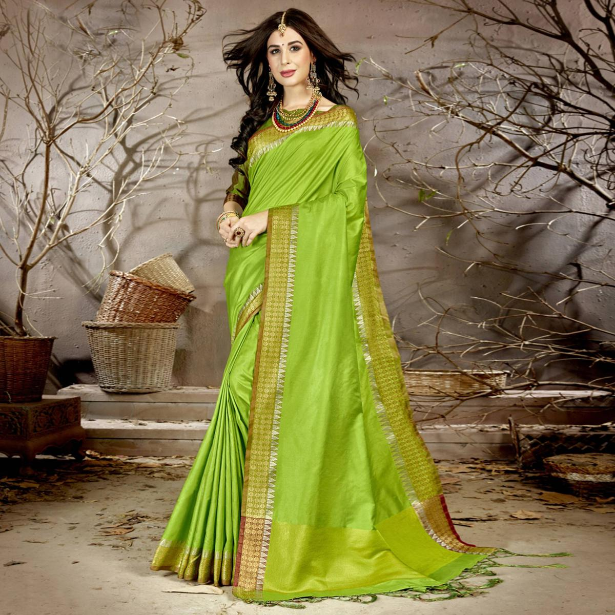 Ideal Green Colored Festive Wear Woven Chanderi Silk Saree