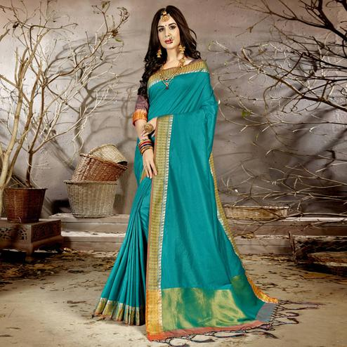Imposing Rama Blue Colored Festive Wear Woven Chanderi Silk Saree