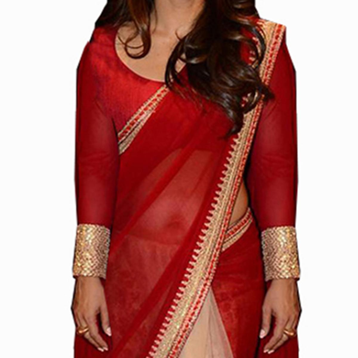 Red - Cream Georgette & Net Saree