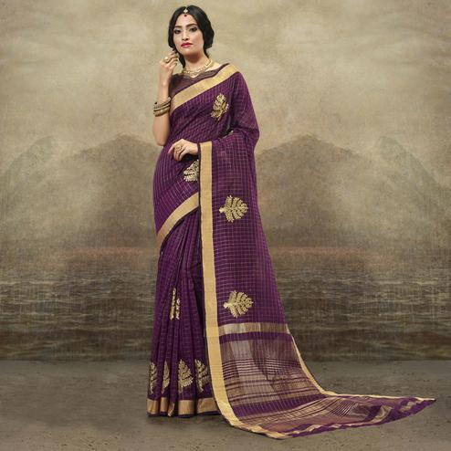 Delightful Purple Colored Festive Wear Woven Cotton Saree