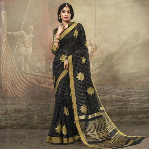 Engrossing Black Colored Festive Wear Woven Cotton Saree
