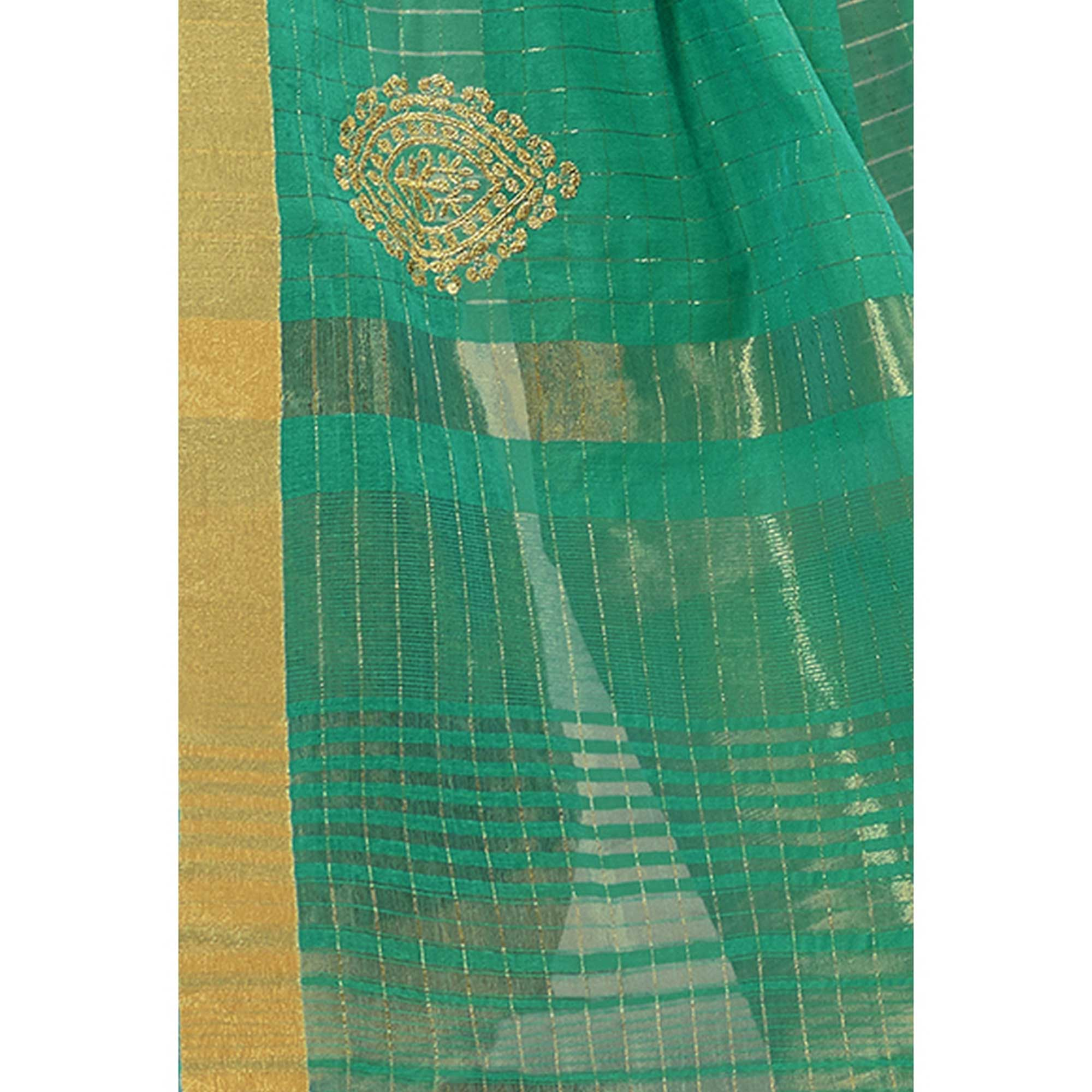 Captivating Turquoise Green Colored Festive Wear Woven Cotton Saree