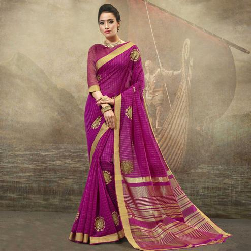 Innovative Magenta Pink Colored Festive Wear Woven Cotton Saree