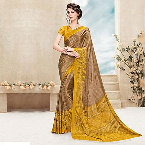 Brown - Mustard Yellow Printed Saree