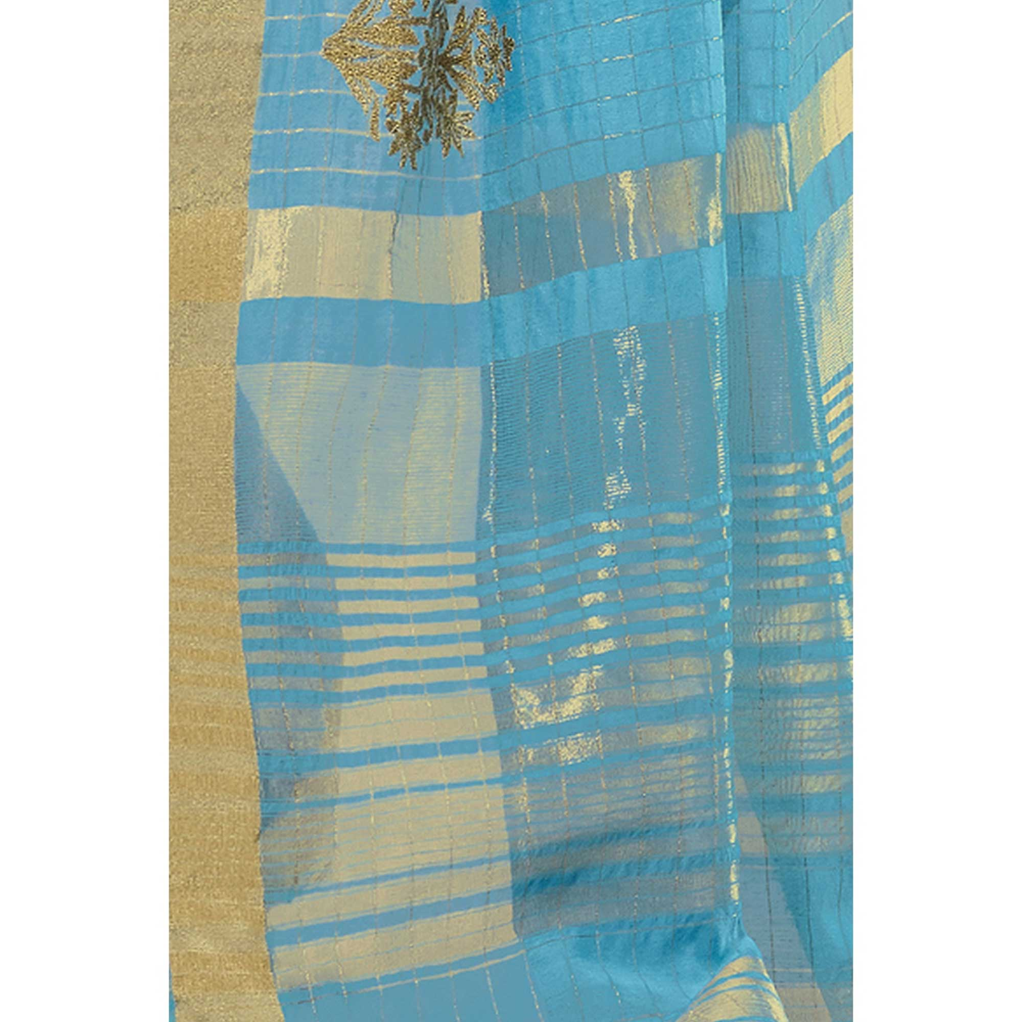 Eye-catching Sky Blue Colored Festive Wear Woven Cotton Saree