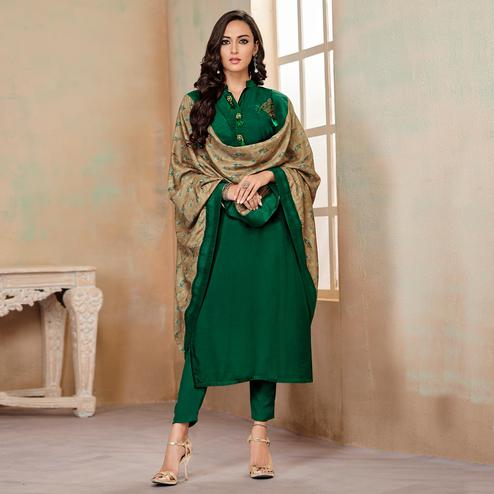 Adorable Green Colored Partywear Cotton Suit